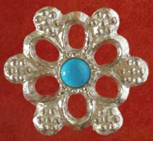 Rose badge with turquoise