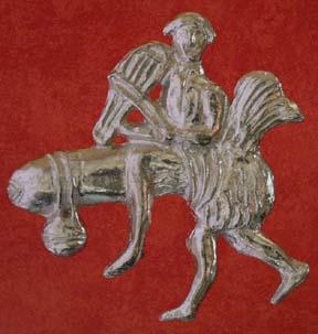 Musician rides a phallus creature