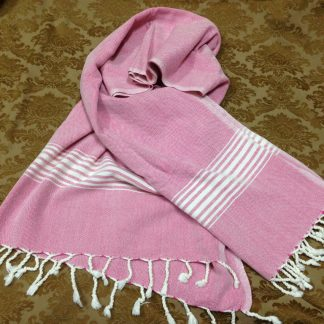 Towel; Red with natural colour bands and stripes