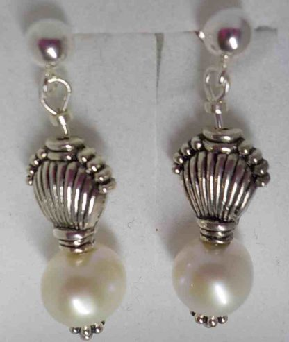 Pearl and Silver Shell drop earrings