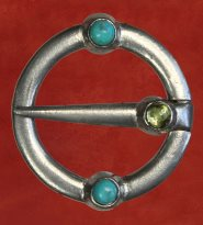 Ring Brooch, with turquoise and peridot
