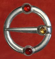 Ring Brooch, with carnelian and citrine